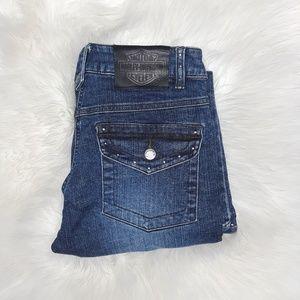 Harley Davidson embellished boot cut jeans size 2